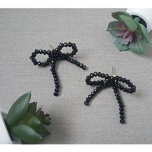 BaubleBar | Black Beaded Bow Earrings